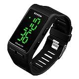 RSVOM Digitaluhren für Herren Damen, 3 ATM Wasserdicht Digitaluhr Uhren für Jugendliche Kinder Jungen Mädchen, Schwarz Unisex Outdoor Sportuhr Elektronische LED Armbanduhr mit Alarm