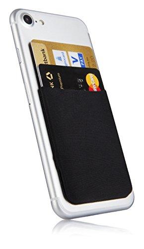 MyGadget Funda Bolsillo Adhesivo para Tarjeta en todo tipo de Móvil ó Smartphone - Suave Estuche Cartera Portatarjetas de Crédito Bloqueo RFID - NegroPORTA TARJETAS - Reemplaza su billetera, siendo la adición ideal a cualquier teléfono.MULTIUSOS - P...