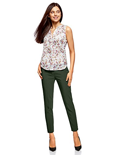 oodji Collection Donna Pantaloni Basic con Pieghe Verde (6E00N)