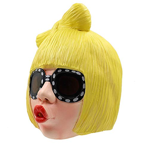 Halloween Maske Latex Lustig Blonde Säuberer Mund Mädchen Volles Gesicht Maske Karneval Cosplay Neuheit Masquerade Kostüm Partei Requisiten Rolle Spiel Spielzeug Für Erwachsene (Lustige Blonde Halloween-kostüme)