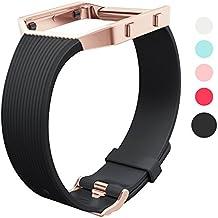Wearlizer para Fitbit Blaze Correa, carcasa de silicona Tpu de repuesto correa accesorios muñeca banda para Fitbit Blaze deporte reloj mujeres hombres–pequeño/grande, color negro