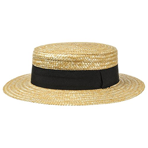 Lipodo Kreissäge Strohhut Beige Damen/Herren | Sonnenhut aus 100% Weizenstroh | Boater in 59 cm | Gondoliere-Hut für Frühjahr/Sommer | Hut mit Ripsband
