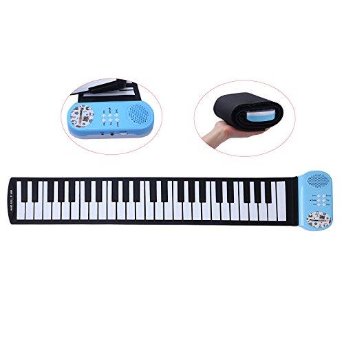 Piano electrónico CAHAYA Teclado de Piano Enrollable con 49 Teclas, compatible con pedales de sostenido, auriculares y altavoces, para niños y principiantes (azul)