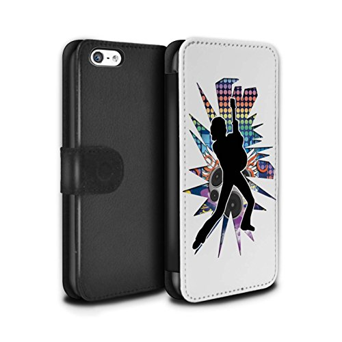 Stuff4 Coque/Etui/Housse Cuir PU Case/Cover pour Apple iPhone 5C / Pack (24 Designs) Design / Rock Star Pose Collection Pencher Blanc