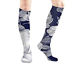 "ouyjian Natural Texture Blossom Black Nature Women's Men's Knee High Socks Athletic Socks 19.7""(50Cm)"