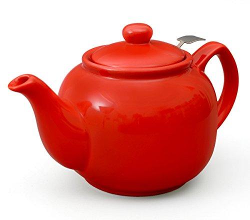 Teeservice / Teeset 3-teilig Malika in rot mit Edelstahlsieb 1,2l - 3
