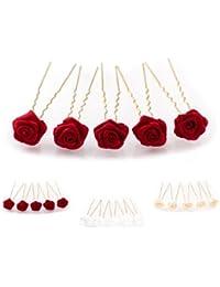 5 horquillas con rosas - accesorios para el cabello - para cabello profundo - oro - Rojo Burdeos