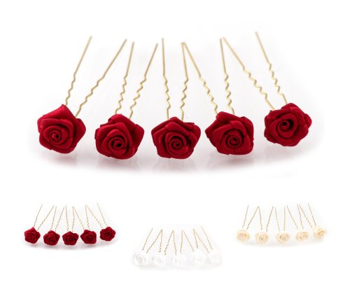 5 épingles à cheveux ornées de roses - accessoire pour coiffure avec du volume/de mariée - Épingle à cheveux dorée - rouge bordeaux
