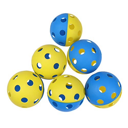 VORCOOL 6PC 9CM Zwei-Farben-Loch Balls Baseball Softball für Kinder Heavy-Duty Trainingsbälle Langlebige Limited Flight High Impact Bälle Ultra-Durable Wiffle-Stil Trainingsbälle (Zwei Farben)