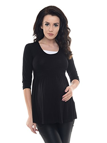 Purpless Maternity Damen 3/4 Arm Schwangerschaft Tunika D5200 (36, Black)