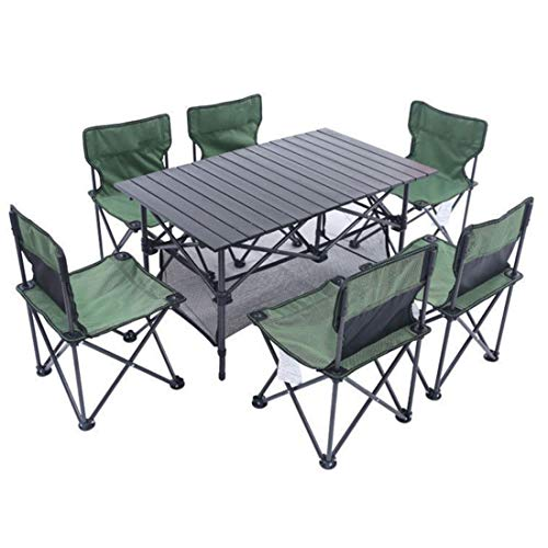 Limeinimukete Tavolo e sedie Pieghevoli per Esterni Set Multi-Tavolo da Biliardo BBQ Camping Driving Equipment Set Chair (Size : 7-Piece)