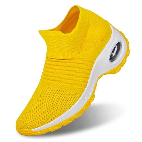 ROTOK Damen Sneaker Air Cushion Slip-on Lightweight Running Schuhe Gym Sport Outdoor Walking Atmungsaktiv Jogging Fitness Athletic Casual Schuhe, Gelb - 1839-yellow - Größe: 40 2/3 EU