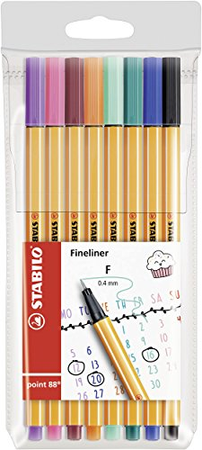 Fineliner - STABILO point 88 - My STABILO Journal - 8 Pack - 8 colores