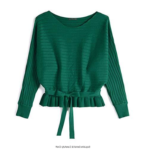 Stricken Pullover Frauen 2018 Winter Herbst Mode Pullover Flügelhülse Pullover Weibliche Lose Oansatz Jumper Femme,Green,L