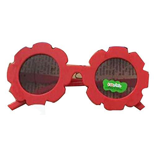 Kunststoffrahmen Kinder dekorative runde Linse Mode Sonnenbrille Nette Brille rot