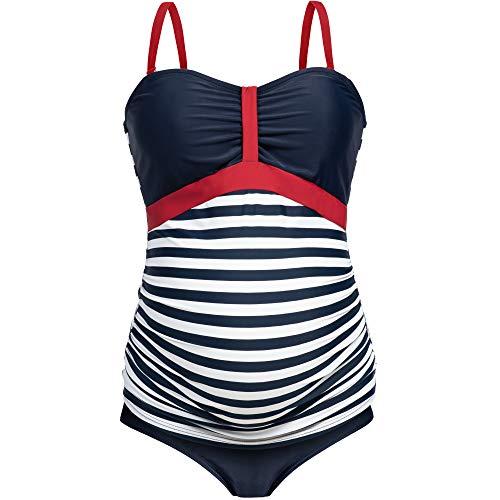 Herzmutter Umstands-Tankini-Schwangerschafts-Bademode - Zweiteiler-Badeanzug für Schwangere - Bandeau-Tankini-Set - Streifen-Muster-Punkte - Übergrößen - UV-Schutz 50-7000 (M, Blau-Weiß-Gestreift)