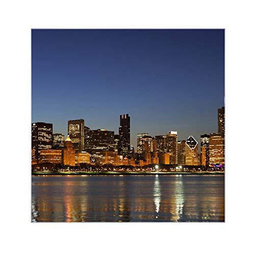Chicago Beistelltisch (banjado Glasplatte für IKEA Lack Tisch 55x55cm | Abdeckplatte aus Sicherheitsglas | Motiv Chicago Skyline | Tischplatte für Beistelltisch, Sofatisch weiß Glasplatte)