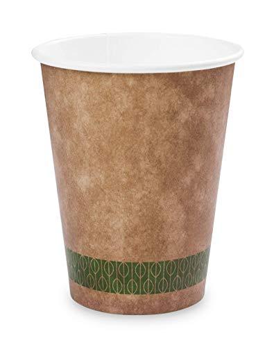 Plantvibes ® 50 Bio Kaffeebecher | edel & umweltfreundlich · zu 100% kompostierbar| Pappbecher für Heißgetränke | coffee to go becher