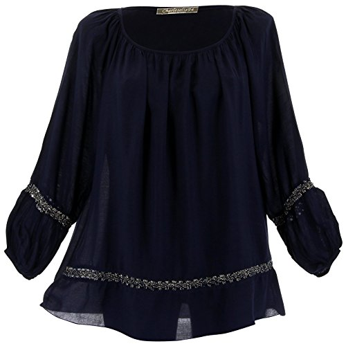 Charleselie94® - Tunique blouse hippie dentelle marine BOHEMIA BLEU Bleu