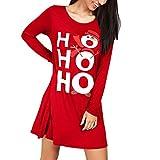 Damen Weihnachten Kleid Daongff Weihnachten Drucken Weihnachtskleid Pullikleid Partykleid Minikleider Merry Christmas Brief Drucken Longshirt Santa Claus A-Linie Kleider