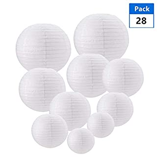 BENECREAT 28PCS 4 Sizes White Paper Lanterns, Round Paper Hanging Lampshade for Birthday, Wedding, Party, Baby Shower, Home Garden Decorations Arts Crafts