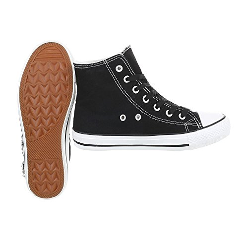 Ital-design Chaussures Femme Baskets Plat Sneaker Low Noir Ab-119