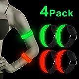LED Armband, 4 Stück Reflective LED leucht Armbänder Lichtband Kinder Nacht Sicherheits Licht für Laufen Joggen Hundewandern Running Outdoor Sports (Grün+Rot)