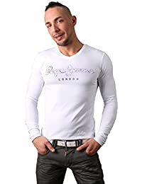 T Shirt Pepe Jeans Homme Manches Longues Blanc - PM501596
