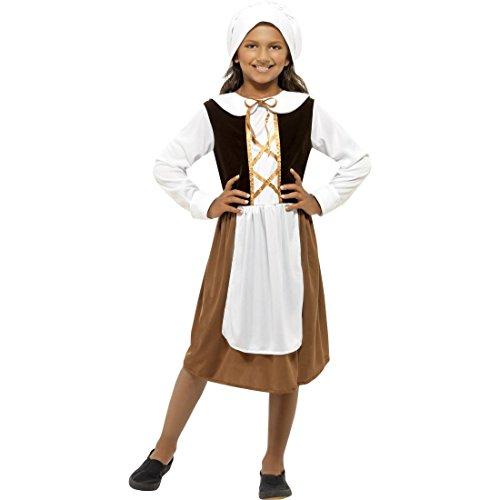 der Mittelalterkostüm M - 130-143 cm 7-9 Jahre Historische Verkleidung Tudor Mädchen Faschingskostüm Magd Mittelalter Maid Karnevalskostüm (Magd Mittelalter Kostüm)