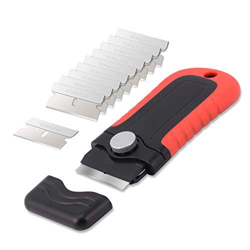 Winjun - Rasqueta de Limpieza Profesional con 10 Cuchillas de Acero Inoxidable/rascador Multiusos/rascador...