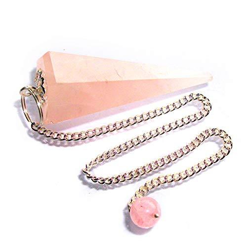 Pendolino de cristallo, pendolo di pietra preziosa per radioestesia, divinazione e cristalloterapia (quarzo rosa)