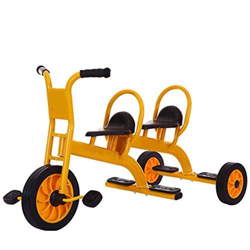 YUMEIGE Dreiräder Kinder Dreirad Twin Bassinet Kinderwagen 2-8 Jahre altes Geburtstagsgeschenk Trike Lastgewicht 150kg (Farbe : Gelb)