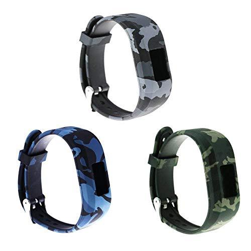 Ruentech Ersatz-Armband für Garmin Vivofit jr.2 für Kinder, Größe S, verstellbar, Gemustert, Silikon, Ersatzband für Garmin Vivofit jr 2 Kinder-Aktivitätstracker, 3PACK-D