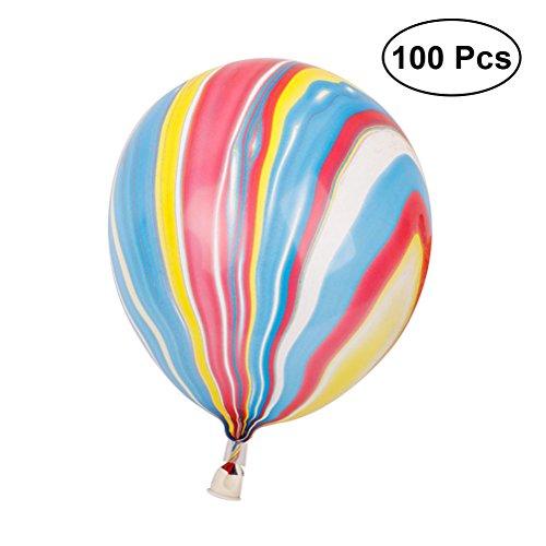 TOYMYTOY Latex Luftballons, Regenbogen Marmor Achat Ballon für Geburtstag Hochzeit Dekoration 12 Zoll 100 Stück (Mehrfarbig)