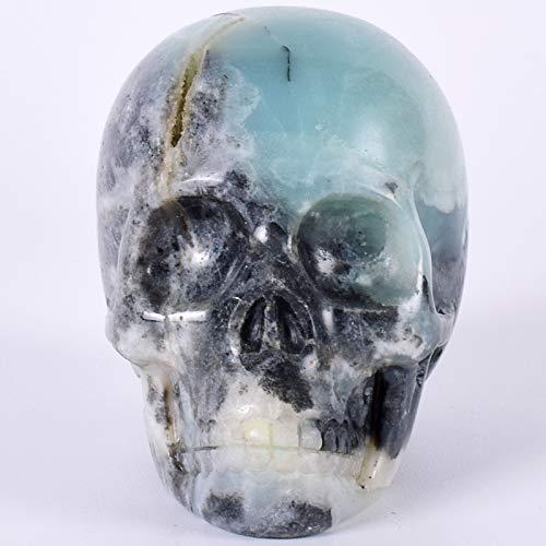 Jnbdhsf statua3 pollici statua cranio naturale pietra di amazzonite testa umana 3 pollici figurina di halloween raffinatezza intaglio artigianato guarigione reiki decor, un