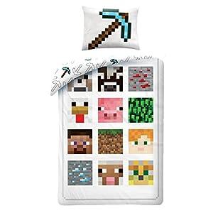Minecraft Bettwäsche Kinder Bettwäsche 140×200 cm + 70×90 cm (Oeko Tex Standard 100)