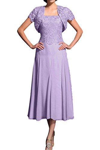 Promgirl House Damen Elegant A-Linie Spitze Brautmutter Abendkleider Ballkleider Wadenlang mit Bolero Helllila