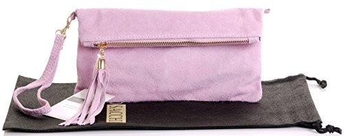 Italienische Wildleder Leder Falten über Kupplung, Handgelenk oder Umhängetasche.Umfasst eine Marke schützenden Aufbewahrungstasche. Babyrosa
