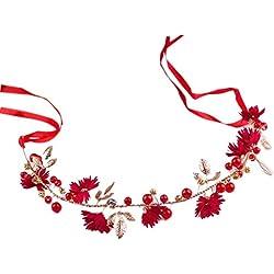 Meiqqm - Diadema para novia, diseño de margaritas artificiales, hojas metálicas, perlas de imitación