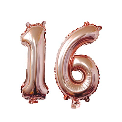 (YEAHIBABY Ballon Zahl 16,Rose Gold Helium Folie Luftballon für Sweet 16 Party Dekorationen,40 Zoll)