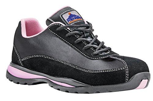 Portwest Steelite fw39bpr42Damen Sicherheit Trainer, S1P HRO, Regular, Größe: 42/1, schwarz/pink
