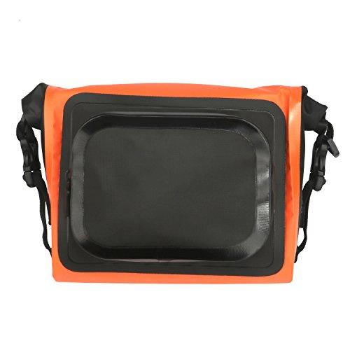 Tourbon Wasserfeste Fahrradhalterung Bike Fahrrad Lenkertasche vorne Top Frame Tasche PVC Tube Bag Rolle oben vorn Korb 01170209 - Orange -