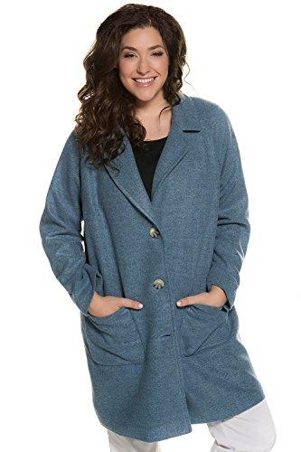 Ulla Popken Damen große Größen bis 62+ | Oversized-Mantel | Reverskragen, Taschen | Langarm, Komplettfutter | Loose Fit | blassblau-Melange 58/60 713496 75-58+