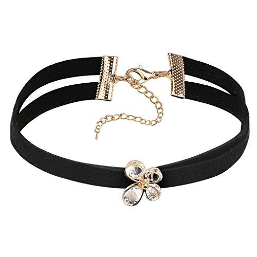 Daesar Donna Collana Girocollo Acciaio Inossidabile Velluto Butterfly Zirconi Catena Nero Oro Collana Collare 31+8.5CM