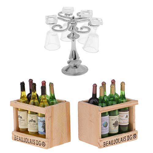 1/12 Dollhouse Beer Mit Magnetbox Spielzeug & Cup Rack Becher Set
