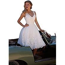 HotGirls Elegante cuello en V corta vestido de novia de encaje rebordear vestido de novia