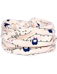 Bufandas Niños Niñas, Tongshi Invierno Bebé Cachemira Dibujos Animados Impreso Anillo Cuello Bufandas (Beige)