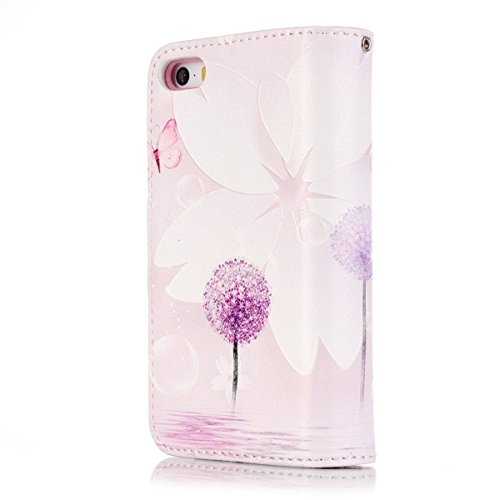 iPhone 6 Hülle Case,iPhone 6S Hülle Case,Gift_Source [Multi Card Brieftasche] [Photo card slots] Premium Magnetic PU Leder Brieftasche mit Built-in 9 Card Slots Folio Flip Hülle Case für Apple iPhone  E01-12-Purple Dandelion