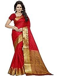 Dhwani Enterprises Silk Saree With Blouse Piece (Brown Kery_Brown_Free Size)