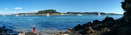 Panoramic Images - Fisherman Fishing in The sea ILE-Aux-Moines Port Blanc Gulf of Morbihan Morbihan Brittany France Photo Print (68,58 x 22,86 cm)